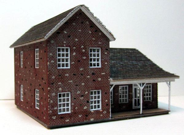 Rsl 3055 Rsl N Scale Brick Farm House Kit